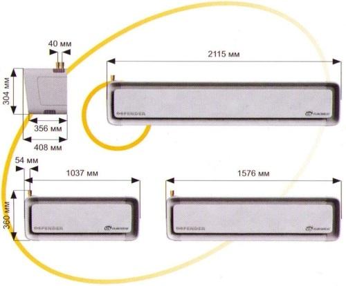 Соединение модулей: * возможность простой установки...  Пример монтажа воздушной завесы над автоматическими дверьми.